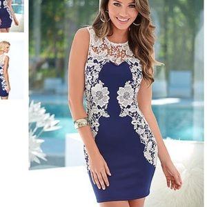 Lace floral blue dress Venus XS